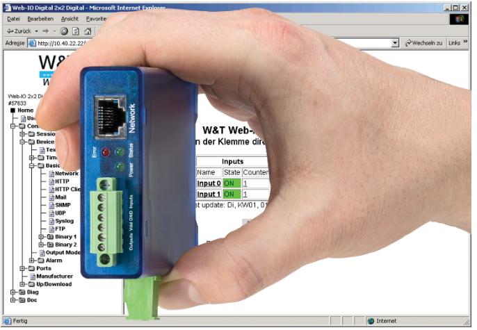 Wiesemann & Theis Web-IO mit digitalen Ein- und Ausgängen.